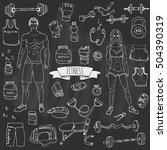 hand drawn doodle fitness icons ... | Shutterstock .eps vector #504390319