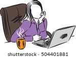 woman working at computer... | Shutterstock .eps vector #504401881