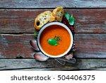 tomato soup gazpacho in vintage ... | Shutterstock . vector #504406375