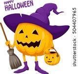 cartoon halloween pumpkin... | Shutterstock .eps vector #504407965