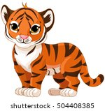 illustration of cute baby tiger  | Shutterstock .eps vector #504408385