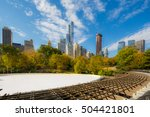central park at autumn. ... | Shutterstock . vector #504421801