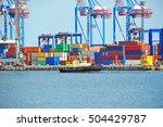tugboat and crane in harbor...   Shutterstock . vector #504429787