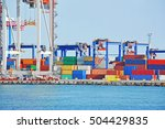 port cargo crane and container... | Shutterstock . vector #504429835