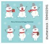 snowman collection.  vector... | Shutterstock .eps vector #504432541