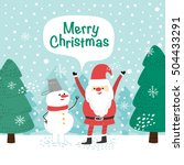 snowman and santa claus. vector ... | Shutterstock .eps vector #504433291