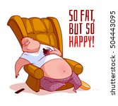 the fat man in a chair. so fat  ... | Shutterstock .eps vector #504443095