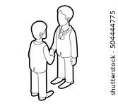 two businessmen shaking hands... | Shutterstock . vector #504444775
