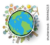 ecology integrated thin line...   Shutterstock .eps vector #504446215