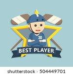 hockey player in star emblem | Shutterstock .eps vector #504449701