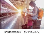 woman traveler to train went to ... | Shutterstock . vector #504462277