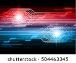 future technology  blue red... | Shutterstock .eps vector #504463345