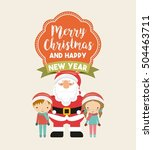 little kids in christmas... | Shutterstock .eps vector #504463711