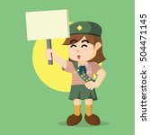 scout girl holding sign | Shutterstock . vector #504471145