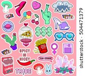 set of patches  stickers ... | Shutterstock .eps vector #504471379