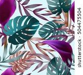 tropical flowers  jungle leaves ... | Shutterstock .eps vector #504475504