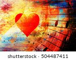 beautiful collage with hearts... | Shutterstock . vector #504487411