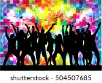 dancing people silhouettes.... | Shutterstock .eps vector #504507685