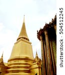 golden pagoda at emerald buddha ... | Shutterstock . vector #504512245
