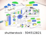 color business strategy sketch... | Shutterstock . vector #504512821