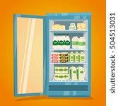 commercial refrigerator full of ... | Shutterstock .eps vector #504513031