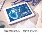 white tablet pc and doctor... | Shutterstock . vector #504514291