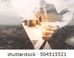 double exposure business team... | Shutterstock . vector #504515521