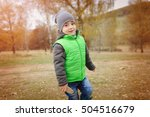 cute boy playing outdoor at... | Shutterstock . vector #504516679