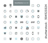 blue and gray clock icon set | Shutterstock .eps vector #504523324
