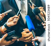 media interview with businessman | Shutterstock . vector #504523489