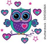 cute funny owl. forest bird... | Shutterstock .eps vector #504530464