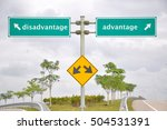 Small photo of Road signage at highway antonyms disadvantage or advantage