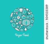 vegan food vector set. harvest... | Shutterstock .eps vector #504533389