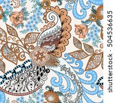 seamless  pattern with paisley  ... | Shutterstock .eps vector #504536635