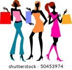 three shopping girls | Shutterstock .eps vector #50453974