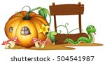 wooden sign with pumpkin and... | Shutterstock .eps vector #504541987
