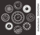 vector vintage clock dials set. ... | Shutterstock .eps vector #504543964