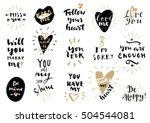 set of love hand drawn quotes... | Shutterstock .eps vector #504544081