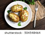 baked potato with bacon  cheese ... | Shutterstock . vector #504548464