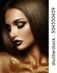 beautyful girl with gold... | Shutterstock . vector #504550459