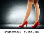 slim woman legs and red heels... | Shutterstock . vector #504552481