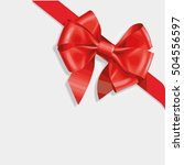 red and gold vector gift bow... | Shutterstock .eps vector #504556597