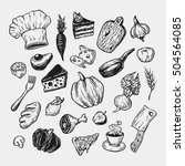 cooking and kitchen. hand drawn ...   Shutterstock .eps vector #504564085