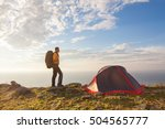 sunrise in camping day. alone... | Shutterstock . vector #504565777