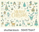 merry christmas greeting card ... | Shutterstock .eps vector #504575647