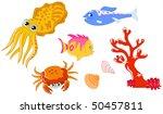 cute cartoon sea creatures and... | Shutterstock .eps vector #50457811