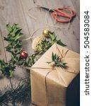 make christmas gift box ... | Shutterstock . vector #504583084