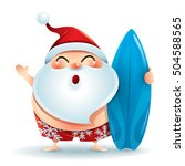 santa claus in swimsuit with a... | Shutterstock .eps vector #504588565