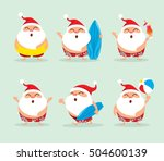 collection of christmas beach... | Shutterstock .eps vector #504600139