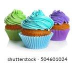 Fresh Tasty Cupcakes Isolated...